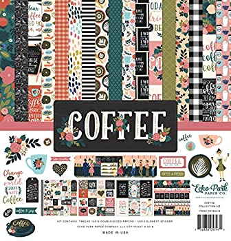 Echo Park Paper Company Coffee Collection Kit paper 12-x-12-Inch Pink/Green/Red/Navy/Blue/Teal/Black