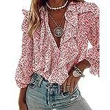 Loalirando Camicia Donna con Manica Lunga Blusa Elegante Scollo a V Sexy Camicetta da Ufficio Casual (Rosa, L)