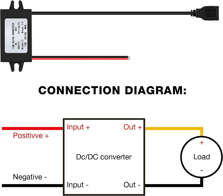 1 12V bis 5V DC Abw/ärtswandler Modul USB Ausgang Netzteil DC Netzteil Konverter DC bis DC Regler Auto Stromrichter