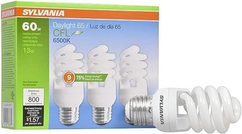 SYLVANIA CFL T2 Twist Light Bulb, 60W Equivalent, Efficient 13W, E26 Medium Base, 6500K Daylight, 3 pack