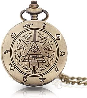 1 x Vintage Bill Cipher Pocket Watch Necklace Pendants Quartz Vintage Pocket Watch with Chain for Men Women Gift