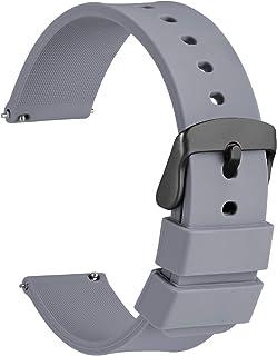 WOCCI Cinturino in Silicone Fibbia Nera, Sgancio Rapido, 13 Colori Cinturini di Ricambio per Orologi in Gomma, 14mm 16mm 18mm 20mm 22mm 24mm