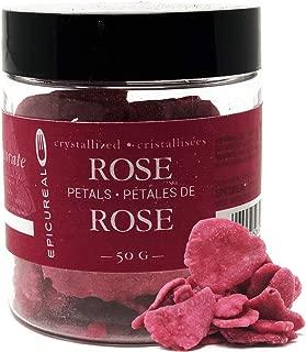Epicureal Crystalized Rose Petals - 50g | Whole Hand-picked Large Rose Petals, Elegant Finishing Decoration