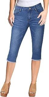 Stretchy 5 Pocket Skinny Mid Rise Capri Ripped Denim Jeans