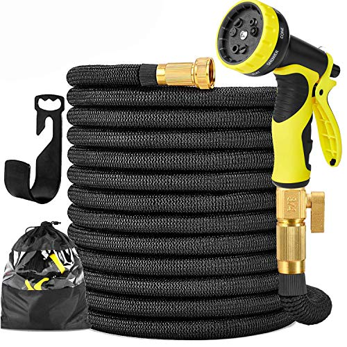 """Garden Hose Expandable Garden Hose 100 ft Garden Hose with Triple Layer Latex Core, 3/4"""" Solid Brass Fittings, 3750 D Extra Strength Fabric 10 Function Spray Nozzle for All Your Watering Need"""