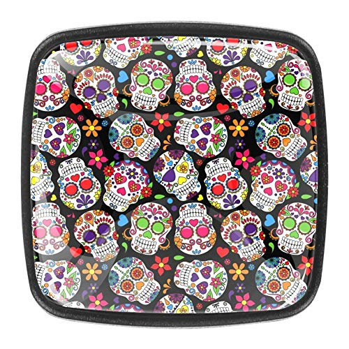 DEYYA Drawer Knobs Day of The Dead Sugar Skull 4PCS Square Crystal Glass Cabinet Door Pulls Ergonomics Handles