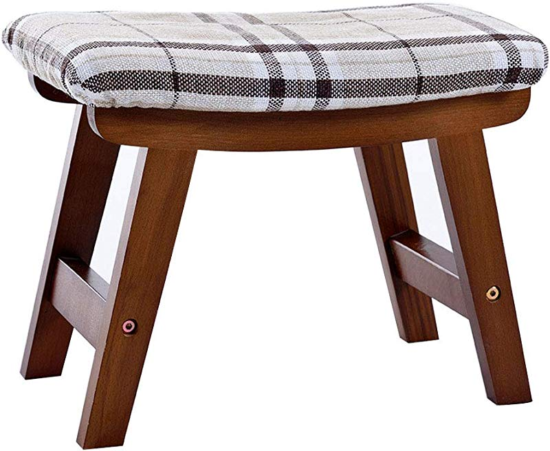 Household Change Shoes Stool Ottoman Creative Low Stool Solid Wood Foot Stool 4 Legs And Removable Linen Cover 39cmx25cmx29cm Max Load 150KG Walnut Stripes