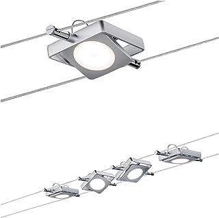 Paulmann 941.07 MacLED Système d'éclairage à spots sur câble - Set de 4 luminaires suspendus de forme carrée, câble de 10 ...