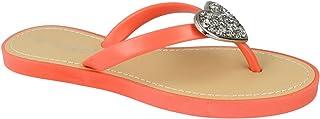 Savannah Womens/Ladies Open Toe Sparkling Heart Flip Flops