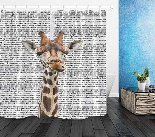 N/ Wasserdichtes gewebe lustige Giraffe Zeitung duschvorhang Bad Vorhang Haken 183 * 183CM