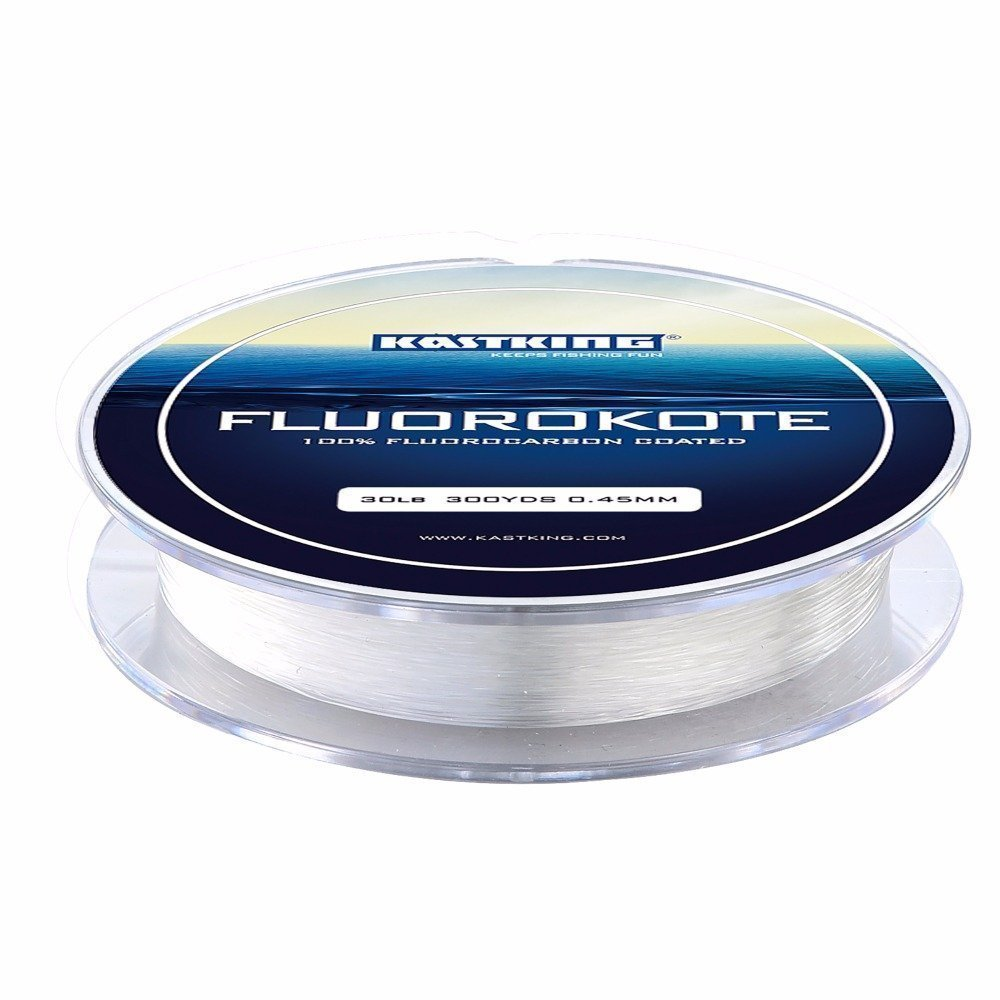 KastKing FluoroKote Fishing Line - 100% Pure Fluorocarbon Coated - 300Yds/274M 150Yds/137M Premium Spool - Upgrade from Mono Perfect Substitute Solid Fluorocarbon Line