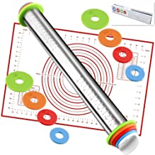 Rolling Pin nonstick and Silicone Baking Pastry Mat combo kit, Adjustable Rolling Pin With Thickness Rings, Rolling Pin fo...