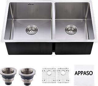 APPASO 32-inch 60/40 Double Bowl Kitchen Sink Undermount, 18 Gauge Stainless Steel 10 inch Deep Commercial Handmade Large Drop-in Kitchen Sink, R321964
