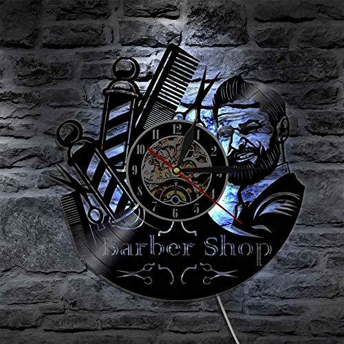 JXWH Salon de Coiffure Barbier Disque Vinyle Horloge Murale Coiffeur Montre de Coiffeur Antique Horloge Murale de Coiffeur de Mode