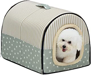 ACTNOW 2-in-1 Pet House and Portable Sofa Non-Slip Dog Cat Igloo Beds Warm Lovely Pet House Gift for Pet 3-Size (L, Green Stripes)