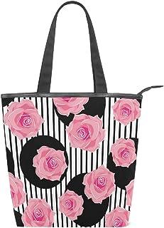 Mnsruu Große Handtasche/Strandtasche/Reisetasche/Einkaufstasche/Einkaufstasche aus Segeltuch, Rosa mit Rosen auf Punkten und Streifen