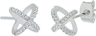 ROBERT MATTHEW Maisie 18k White Gold Stud Earrings, Crisscross X Stud Earring Set for Women, Silver Cubic Zirconia Halo Earrings, Christmas Jewelry MSRP - $150
