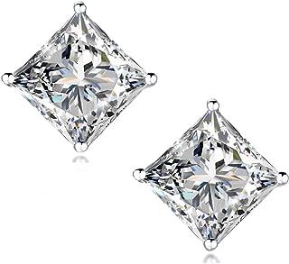 """STUNNING FLAME"" 18K Gold Plated Silver Princess Cut Simulated Diamond CZ Stud Earrings"