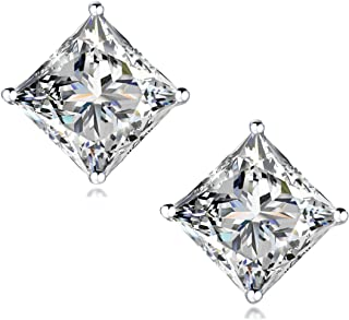 """STUNNING FLAME"" 18K Gold Plated Silver Princess Cut Simulated Diamond Cubic Zirconia Stud Earrings"