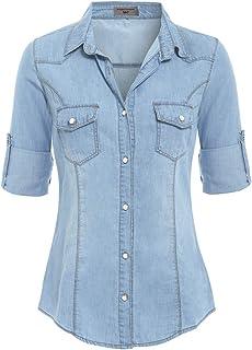 c8aaefdcff7b7 Amazon.fr : Chemise en jeans - Chemisiers et blouses / T-shirts ...