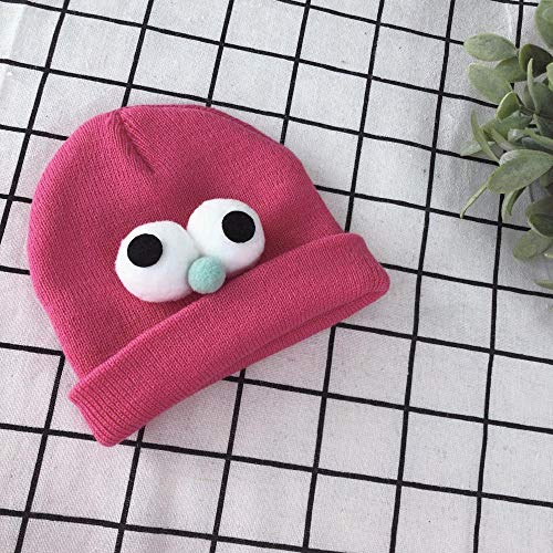 Aibccr Otoño e Invierno Nueva Tendencia Color sólido Ojos Grandes Lindo Tejido cálido bebé Sombrero-melocotón Pink_Free tamaño 0-2 años