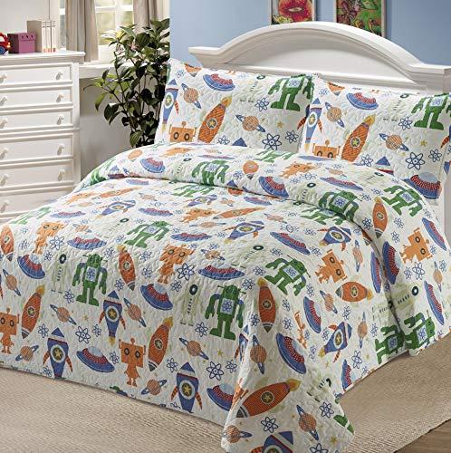 Kids Zone Home Linen Bedspread Coverlet Quilt Set for Boys Multi-Color Robots Space Ships Rocket Planet Orange Green Blue (Twin) Colorado
