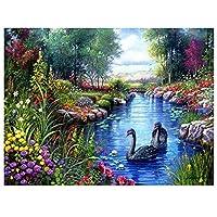DIYペイント 数字 キャンバス油絵 白鳥の動物の風景 キット 子供&大人用 幅16インチ x 長さ20インチ 絵筆付き アクリル顔料
