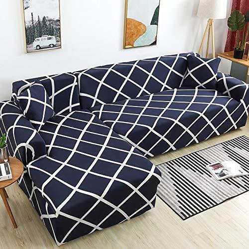 WXQY Funda de sofá de Esquina para Sala de Estar, Funda de sofá elástica, Toalla de sofá elástica, Funda de sillón Chaise Longue en Forma de L, A7, 3 plazas