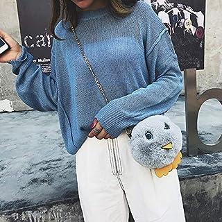 YKDY Shoulder Bag Cute Chick Plush Shoulder Bag Messenger Bag Ladies Handbag Chain Bag (Black) (Color : Grey)