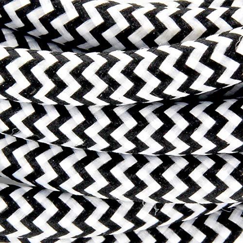 Cable textil con enchufe e interruptor (2 m), color blanco y negro