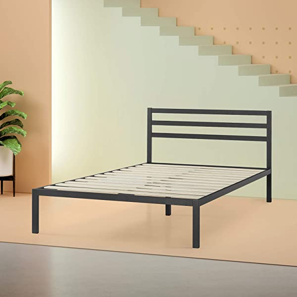 Zinus Mia Modern Studio 14 Inch Platform 1500H Metal Bed Frame Mattress Foundation Wooden Slat Support With Headboard Good Design Award Winner Queen Renewed