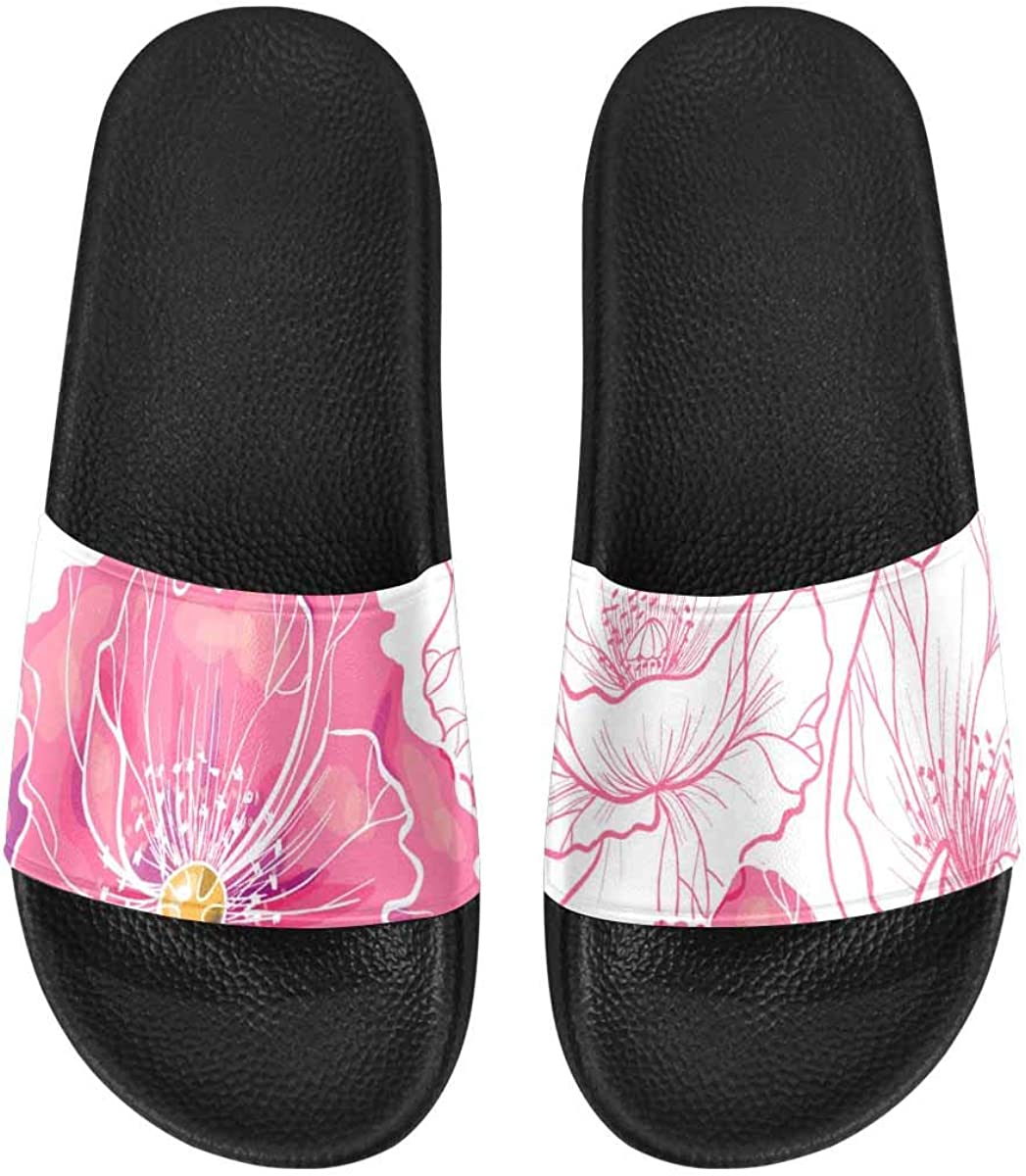 InterestPrint Women's Stylish Slipper Sandals Made from Soft Material Pink Wildflowers Daisies Tulips