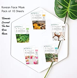 Mirabelle Korean Essential Facial Sheet Mask Combo (Pack of 10- Turmeric, Neem, Rose, Tea Tree, Coconut) Makes Skin Soft & Supple, Improves Skin Tone, Adds Brightness, Eco-friendly, For All Skin Types