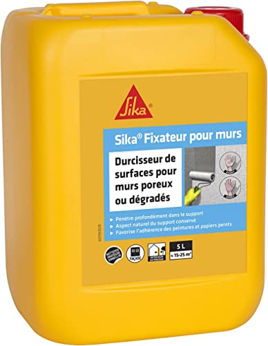 Sika Fixateur pour murs, Durcisseur de surfaces, antipoussière, sur murs poreux, 5L