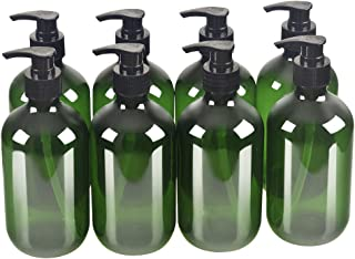 8 Pack Green 500ml 16.7oz Empty Plastic Pump Bottles.Refillable Bottle for Cooking Sauces,Essential Oils,Lotions,Soap,Organic Beauty Products(8 Chalkboard Labels as gift)