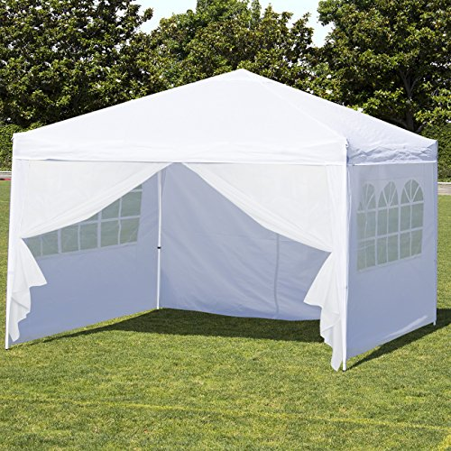 Best Choice Products 10x10ft Lightweight Portable Instant Pop Up Canopy Shade Shelter Gazebo Tent w/Carry Case and Side Walls, White