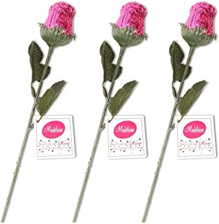 Madelaine Chocolate Sweetheart Edible Roses - Solid Premium 1/2 OZ Milk Chocolate Rose Wrapped in Italian Foil (Pink, 3 Pack)