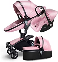 Luxury Baby Stroller 3 in 1 with Separate carrycot Gold Frame 360 Degrees Rotation High Baby Carriage Landscape Stroller for Newborn ({Type=String, Value=Pink})
