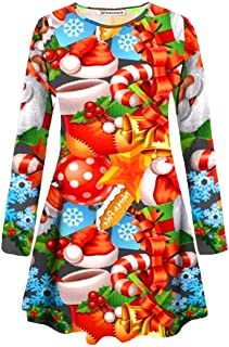 Janisramone Donne Le Signore Nuovo Lungo Manica di Santa Natale Stampare Flared Pattinatore Xmas Mini Swing Vestito Cima
