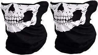 CIKIShield Couples Seamless Skull Face Tube Mask Black (2pcs-white)