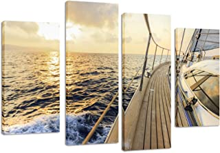 Kreative Arts - 4 Pieces Sailing Boat Sail in Sea Canvas Print Modern Wall Painting Art Set of 4 Ready to Hang Giclee Stretched and Framed Art Work for Office Walls Decor L47xH32inch