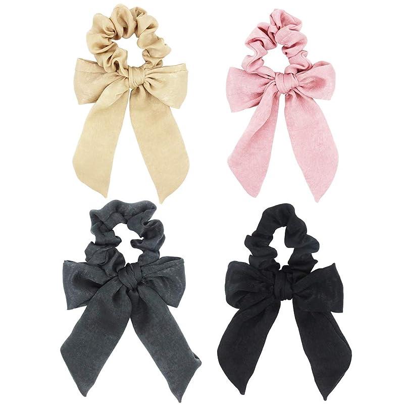 濃度パネル保護Frcolor ヘアアクセサリーちょう結び弾性布シームレスヘアループヘアゴム女性4個(黒、ベージュ、グレー、ライトピンク)