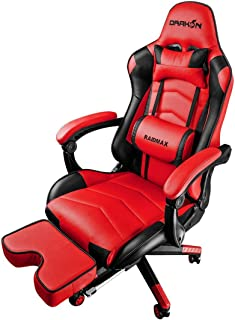 Raidmax DK709 Drakon Gaming Chair Ergonomic Racing Style Pu Leather Seat, Headrest with Foldable Foot/Leg Rest (Red)