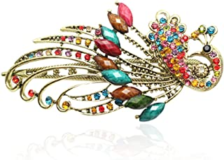 Buankoxy Women's Vintage Crystal Peacock Hair Clip Head Wear- For Hair Clip Beauty Tools (Multicolor)