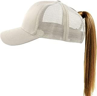 Women's Ponytail Baseball Cap Messy High Bun Adjustable Plain Trucker Dad Hat