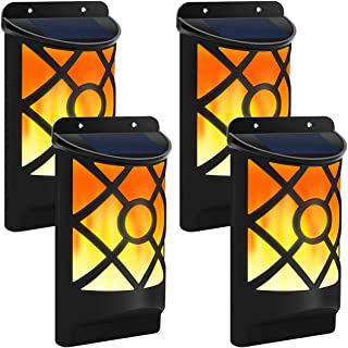 Solar Flame Lights Outdoor, Aityvert Waterproof Flickering Flame Solar Lights Dark Sensor Auto On/Off 66 LED Solar Powered Wall Mounted Night Lights Lattice Design for Pathway Patio Deck Yard 4 Packs