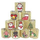 Anillos de servilletas, diamantes de imitación de Navidad Papá Noel Anillos de servilletas Titulares 10 piezas Anillos de servilletas de diamantes de oro Hebillas para decoraciones de mesa navideñas