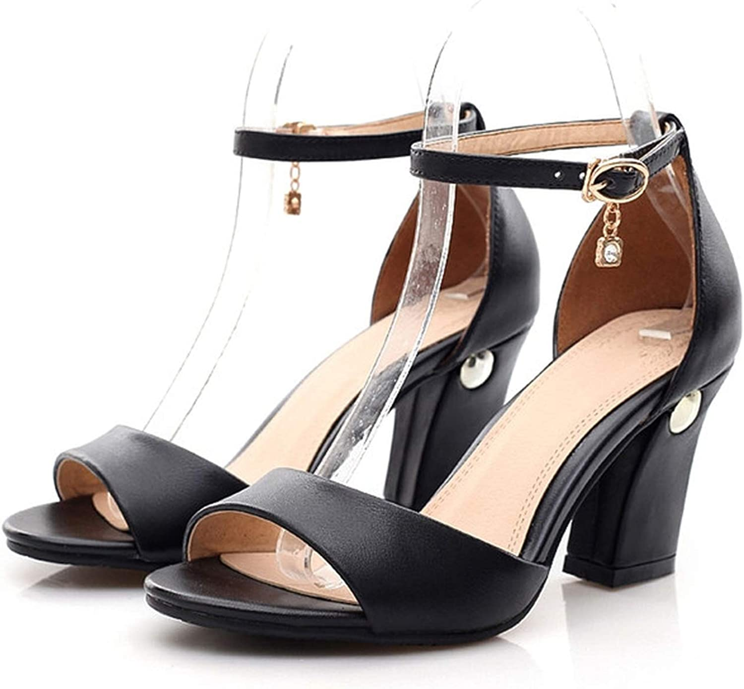 YuJi Genuine Leather High Heel Sandals Ankle Strap High Heels Party shoes Thick Heel Pumps,Black,4