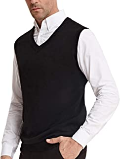 Men's V-Neck Knitting Vest Classic Sleeveless Pullover Sweater Vest