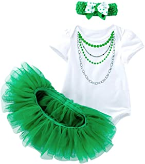 ST. Patrick's Day Outfit Tutu Dress for Baby Girls Shamrocks Party Dress Set